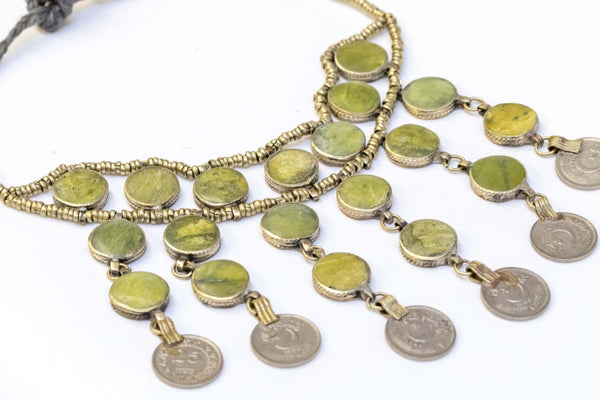 Brass Beaded Necklace With Artificial Emerald Stones - Trendz & Traditionz Boutique