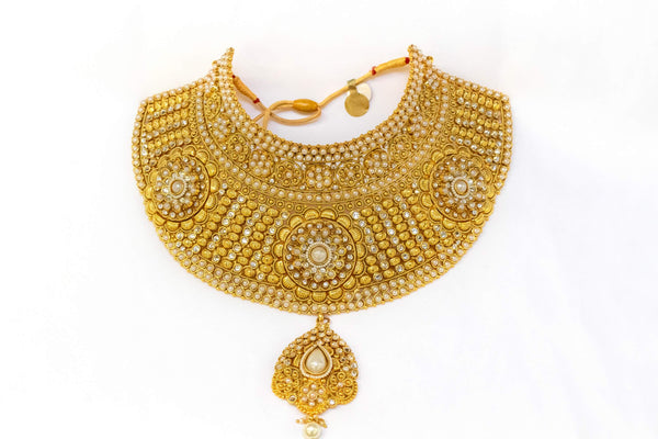 Hand Made Carved Brass Choker- Necklace With Pearls- Trendz & Traditionz Boutique