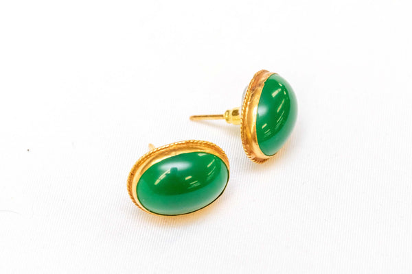Earrings Made Of Gold With Jade Stone - Trendz & Traditionz Boutique