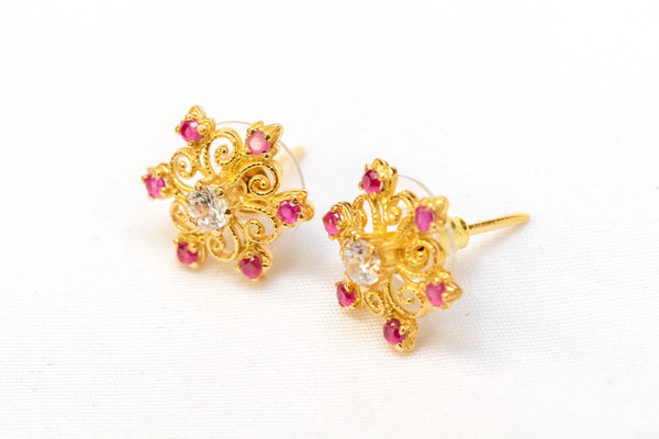 Ruby 22 Caret Gold Earrings- Trendz & Traditionz Boutique
