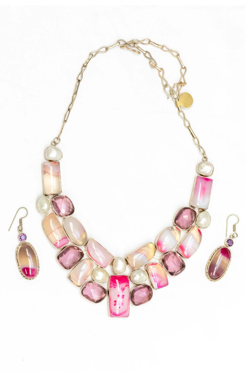 Pink Gemstone & Moonstone Necklace and Earrings - Trendz & Traditionz Boutique