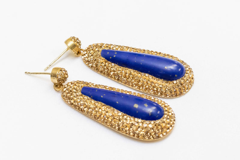 Silver Earrings with Blue Stone - Trendz & Traditionz Boutique