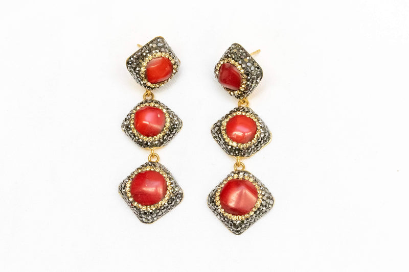 Corral Stone Earrings With Turkish Silver - Trendz & Traditionz Boutique