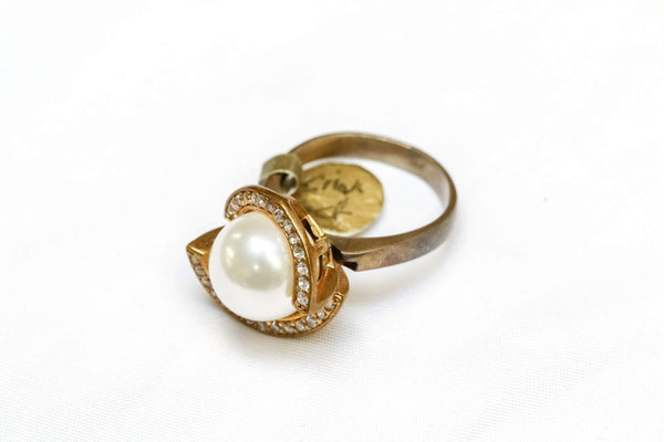 Turkish Silver Ring With Authentic Pearl & Cubic Zirconia - Trendz & Traditionz Boutique