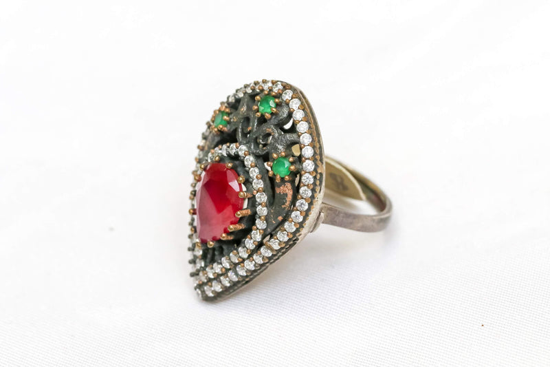 Silver and Copper Ring with Large Red Center Stone - Trendz & Traditionz Boutique