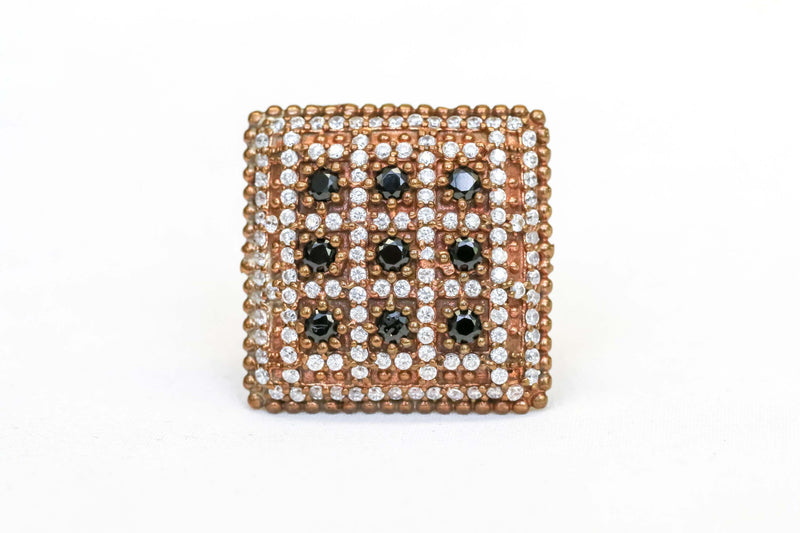 Square Ring Set with Black and White Stones - Trendz & Traditionz Boutique