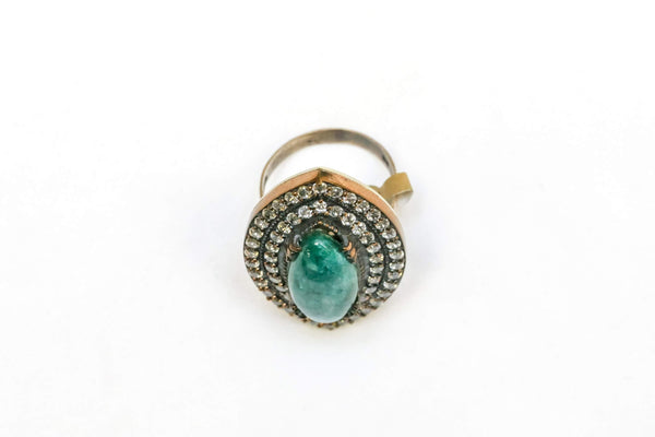 Ring Set with Large Green Stone - Trendz & Traditionz Boutique