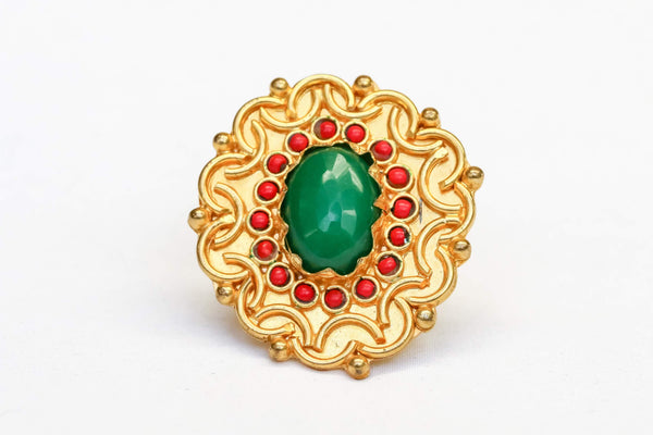 Turkish Brass Green Stone Ring- Trendz & Traditionz Boutique