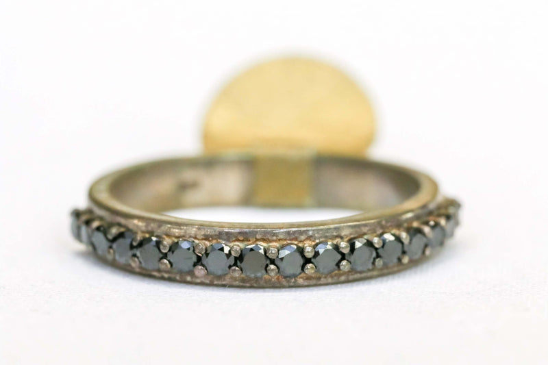 Silver Ring with Black Rhinestones - Trendz & Traditionz Boutique
