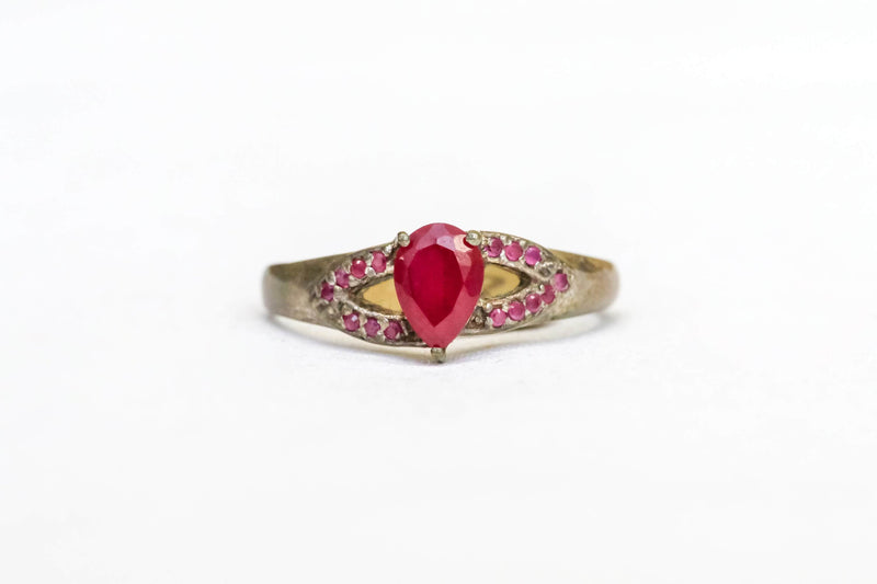 Silver Artificial Ruby Ring - Trendz & Traditionz Boutique