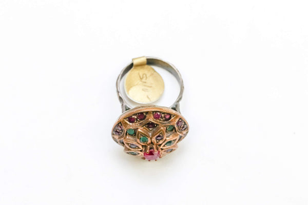Golden Ring with Ruby and Emerald - Trendz & Traditionz Boutique