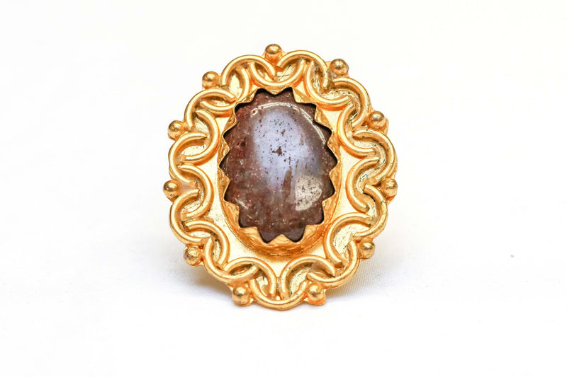 Golden ring with Brown Center Stone - Trendz & Traditionz Boutique