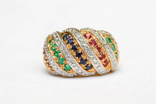 Gold and Silver Ring Set with Blue, Red, and Green Gems - Trendz & Traditionz Boutique