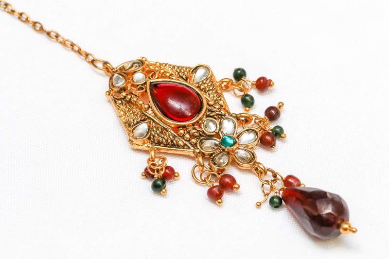 Golden Forehead Jewelry with Red Kundan Center Stone - Trendz & Traditionz Boutique