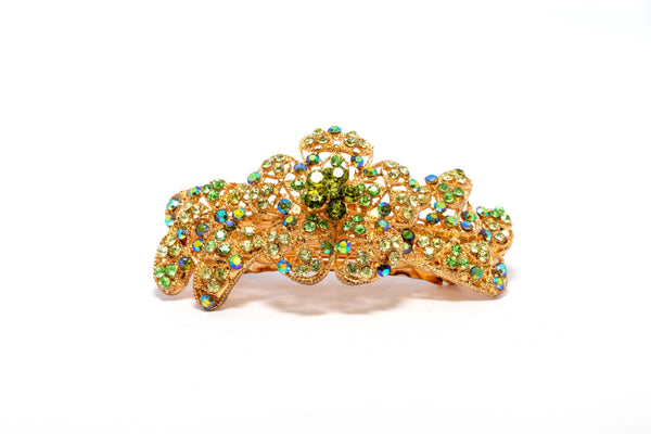 Golden Hair Pin with Green Rhinestones - Trendz & Traditionz Boutique