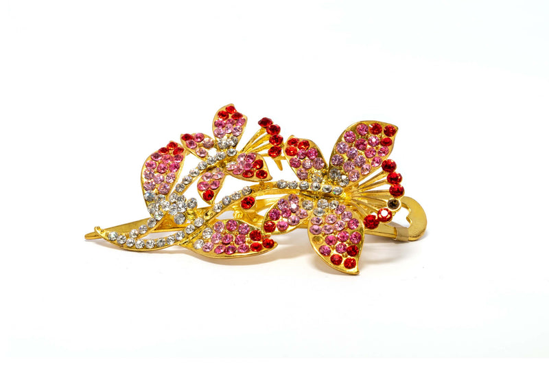 Sparking Pink and Red Detailed Golden Hair Clip - Trendz & Traditionz Boutique