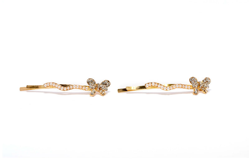 Gold and Pearl Butterfly Hair Pin - Trendz & Traditionz Boutique