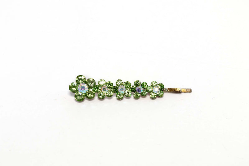 Flowered Green Diamante Hair Pin - Trendz & Traditionz Boutique