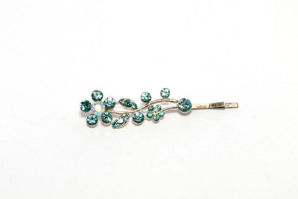 Flowered Aqua Diamante Hair Pin - Trendz & Traditionz Boutique