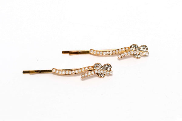 Heart Shaped Diamante and Pearl Hair Pin - Trendz & Traditionz Boutique