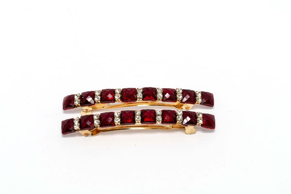 Golden Hair clip with Ruby Stones - Trendz & Traditionz Boutique