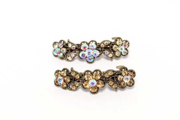 Flowered Multi-Colored Diamante Hair Clip - Trendz & Traditionz Boutique