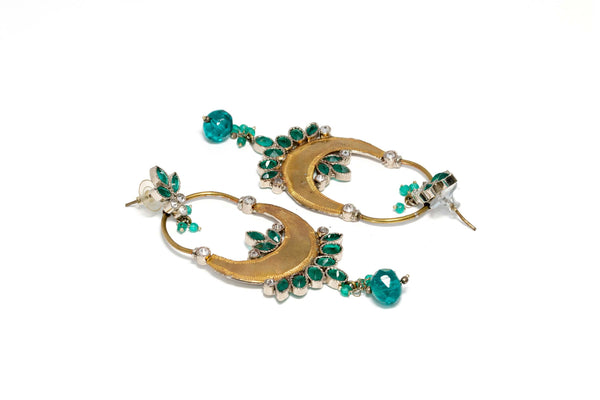 Golden and Teal Drop Earrings - Trendz & Traditionz Boutique