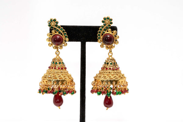 Dangling Gold, Green, Red Earrings - Trendz & Traditionz Boutique