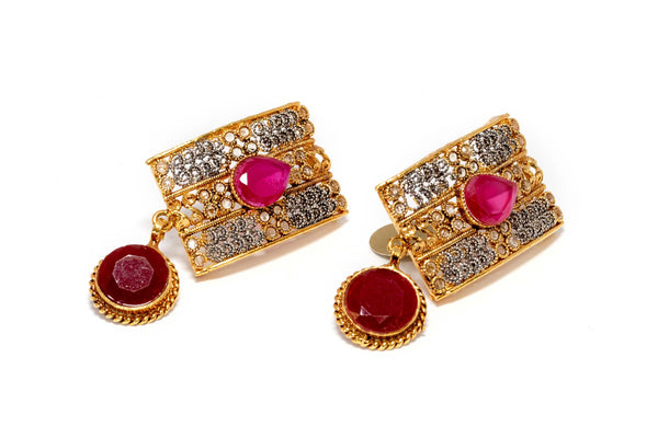 Golden Ruby Dangling Earrings - Trendz & Traditionz Boutique