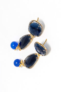 Blue Stone Drop Earrings- Trendz & Traditionz Boutique