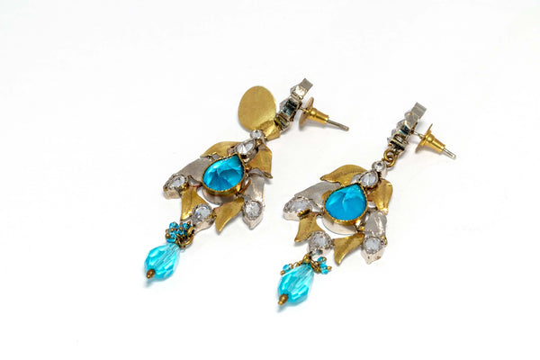 Dangling Gold, Silver, and Aqua Earrings - Trendz & Traditionz Boutique