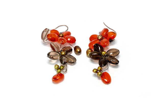Flowered Red and Brown Dangling Earrings- Trendz & Traditionz Boutique