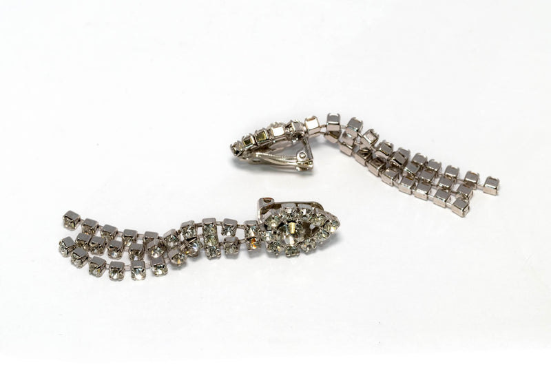 Diamante Dangling Silver Earrings- Trendz & Traditionz Boutique