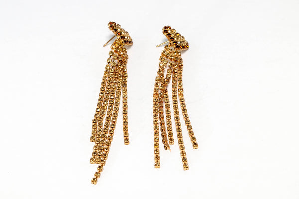 Gold and Brown Dangling Diamante Earrings - Trendz & Traditionz Boutique