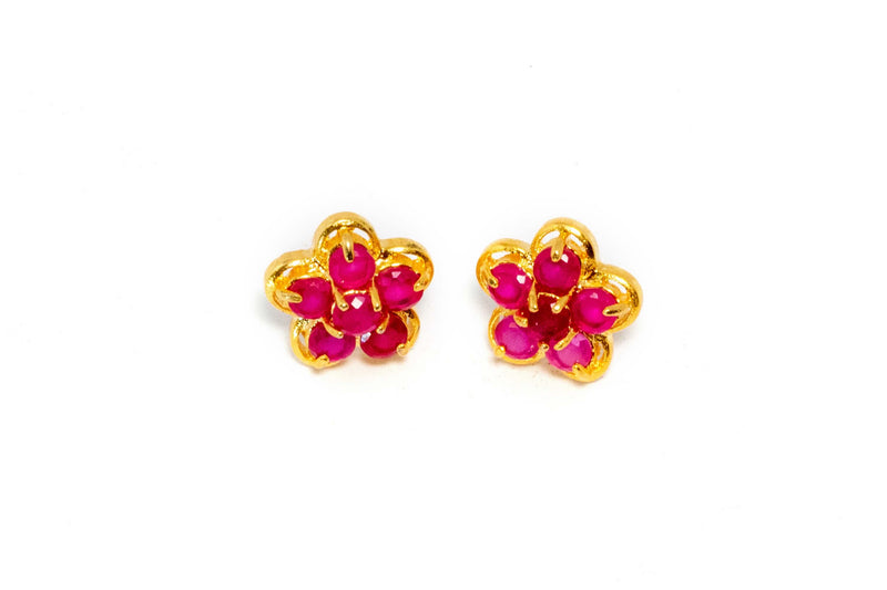 Gold Flower Shaped Earrings With Pink Stone - Trendz & Traditionz Boutique