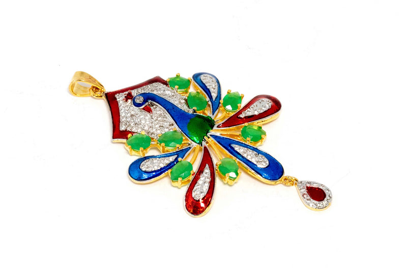 Colorful Peacock Necklace Pendant - Trendz & Traditionz Boutique