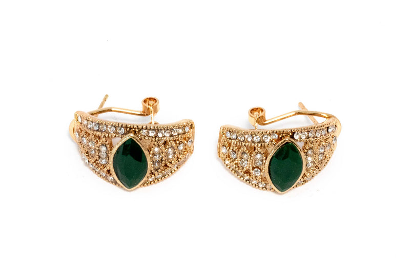 Golden Earrings with Green Gems - Trendz & Traditionz Boutique