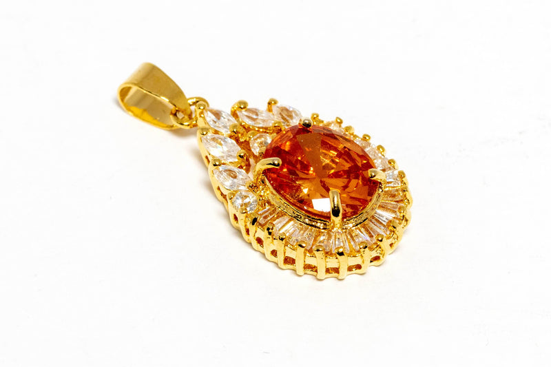 Gold Pendant With Orange Stone - Trendz & Traditionz Boutique