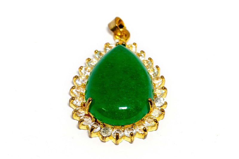 Gold Pendant With Large Green Stone - Trendz & Traditionz Boutique