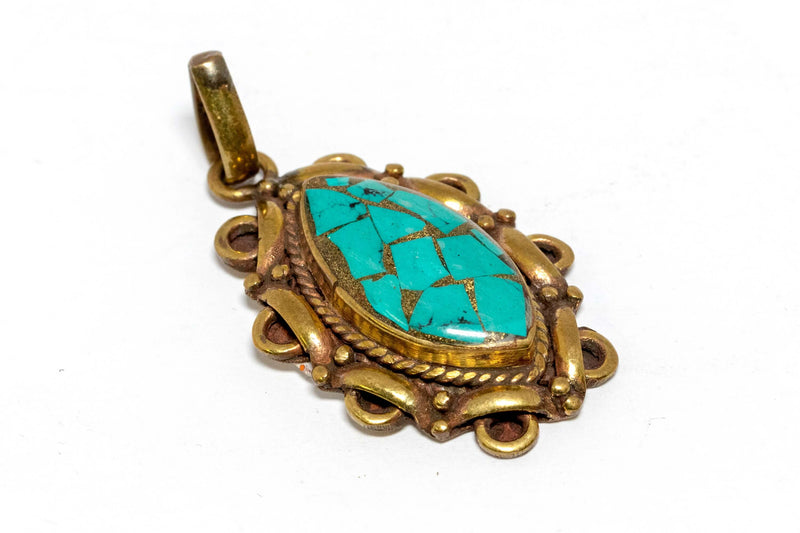 Gold and Blue Mosaic Pendant - Trendz & Traditionz Boutique