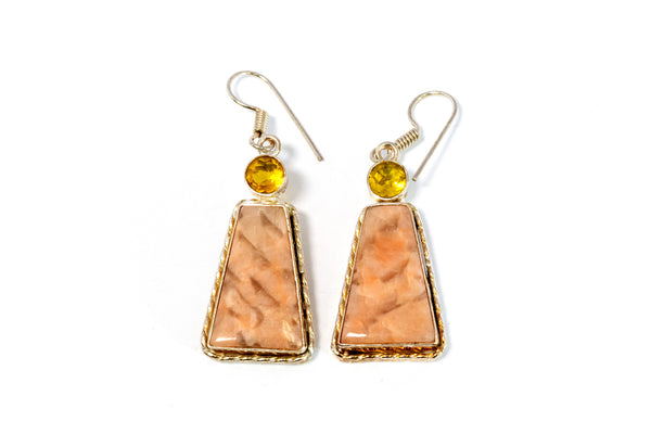 Dangle Earrings With Large Gemstone - Trendz & Traditionz Boutique