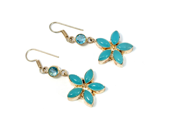 Teal Chalcedony Flower Earrings - Trendz & Traditionz Boutique