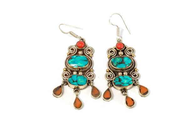 Turquoise With Multi Stone Dangle Earrings - Trendz & Traditionz Boutique