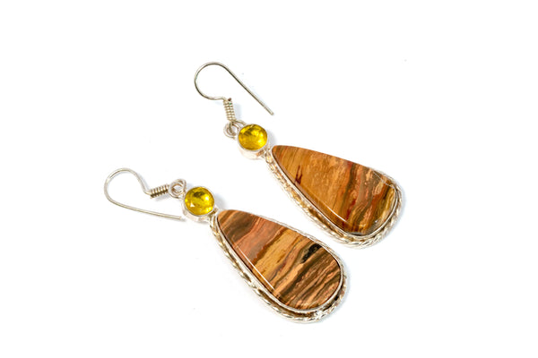 Brown Stone Dangle Earrings - Trendz & Traditionz Boutique