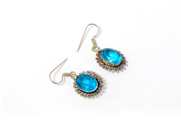 Dangle Earrings With Large Blue Stone - Trendz & Traditionz Boutique