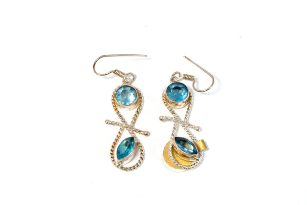 Silver Dangle Earrings With Blue Stones - Trendz & Traditionz Boutique