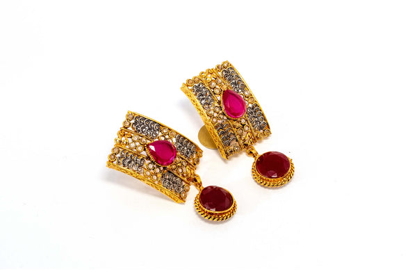 Gold Dangle Earrings With Pink Stone - Trendz & Traditionz Boutique
