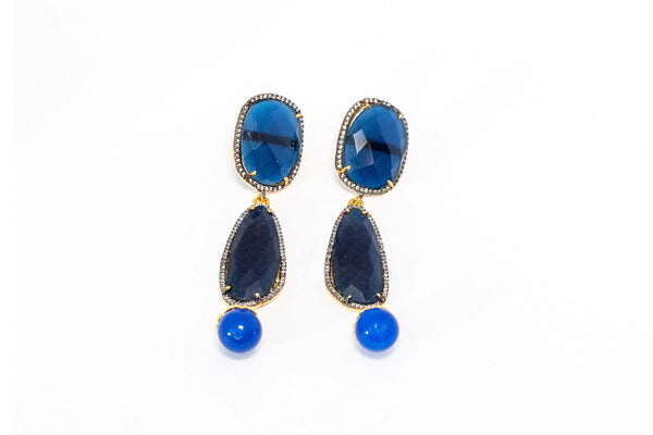 Blue Indian Dangle Earrings - Trendz & Traditionz Boutique