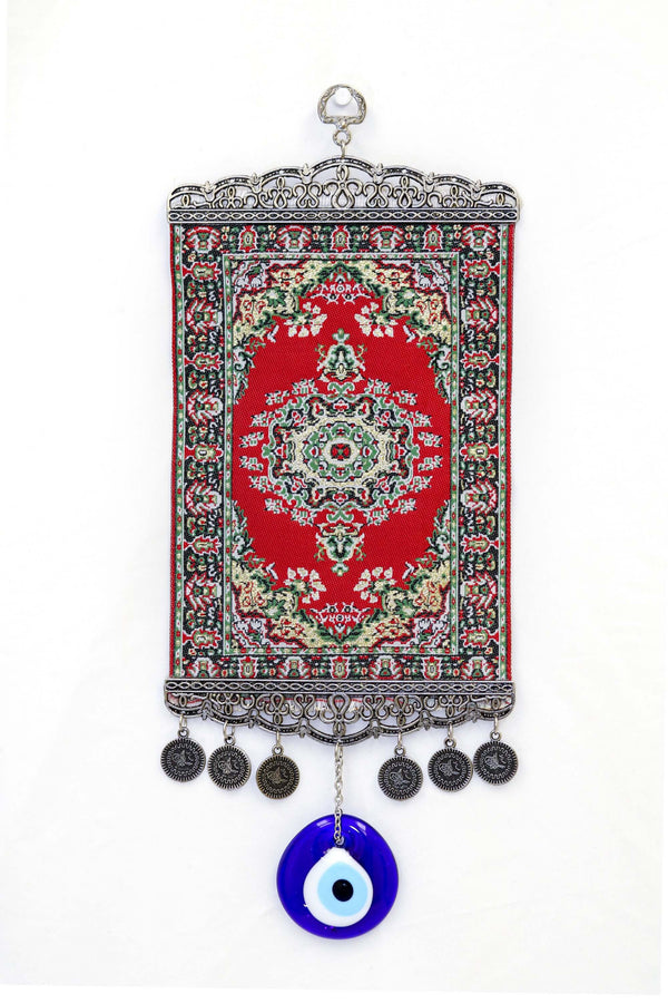 Red Turkish Evil Eye Wall Rug - South Asian Fashion & Unique Home Decor
