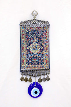 Blue & Gold Turkish Evil Eye Wall Rug - Trendz & Traditionz Boutique